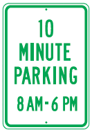 10min parking times sign