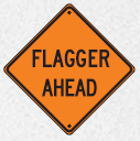 flagger ahead sign