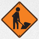 workman ahead sign