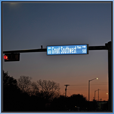 Single Sided Illuminated Street Sign - Great Southwest Parkway manufactured by SA-SO