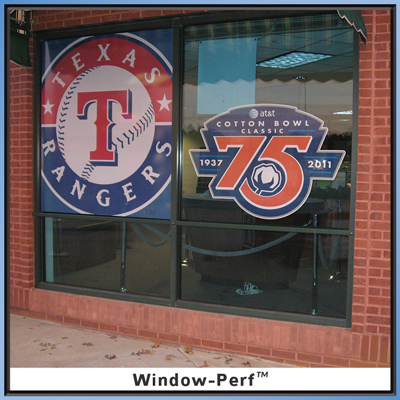 Texas Rangers and Cotton Bowl Classic Window Perfs